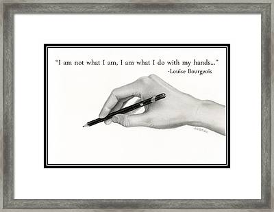 Artist's Hand With Text Framed Print by Sarah Batalka