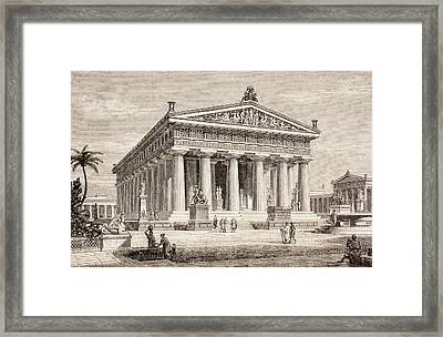 Artists Impression Of The Temple Of Poseidon, Paestum Framed Print by European School