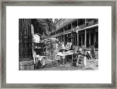 Artists In The Square Mono Framed Print by John Rizzuto