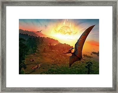 Artwork Depicting Extinction Of Dinosaurs Framed Print by Mark Garlick