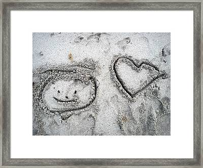 Heart In Sand Framed Print featuring the photograph Artwork In The Sand by Jim Rabenstine
