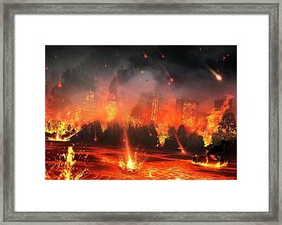 Artwork Of A City Hit By Meteorites Framed Print by Mark Garlick