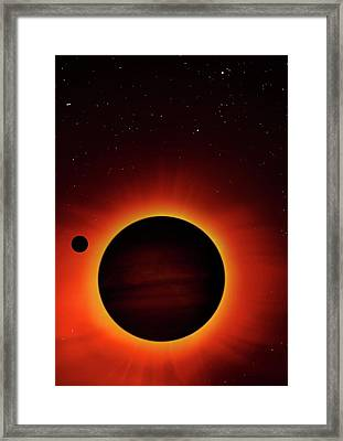 Artwork Of Exoplanet Eclipsing Its Star Framed Print by Mark Garlick