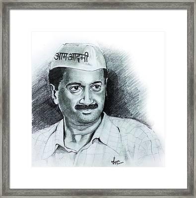 Arvind Kejriwal Aap Sketch  Framed Print by Mayur Sharma