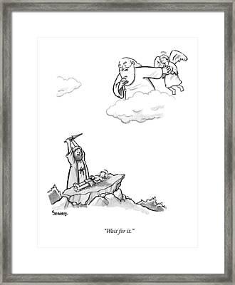 As Abraham Raises The Dagger Over His Son Framed Print by Benjamin Schwartz