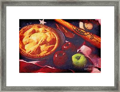 As American As Baseball And Apple Pie Framed Print by Lianne Schneider