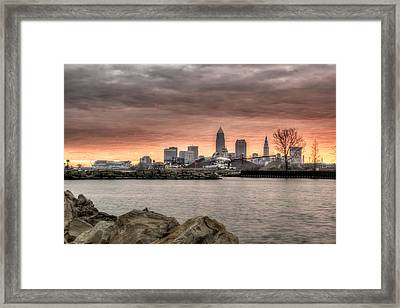 As Morning Breaks From The Breakwall Framed Print by At Lands End Photography