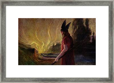 As The Flames Rise Odin Leaves Framed Print by Hermann Hendrich