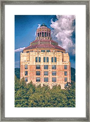 Asheville City Building Framed Print by John Haldane