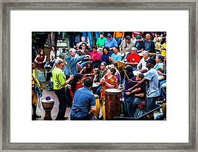 Asheville Drum Circle Framed Print by John Haldane