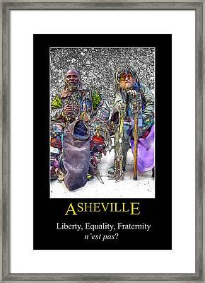 Asheville Equality Poster Framed Print by John Haldane