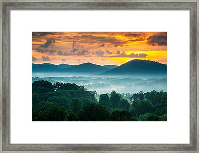 Asheville Nc Blue Ridge Mountains Sunset - Welcome To Asheville Framed Print by Dave Allen
