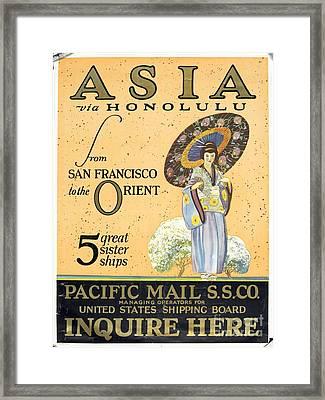 Asia Via Honolulu Framed Print by Celestial Images