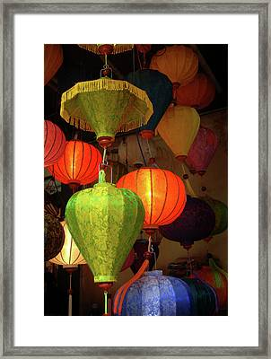Asia, Vietnam Colorful Fabric Lanterns Framed Print by Kevin Oke