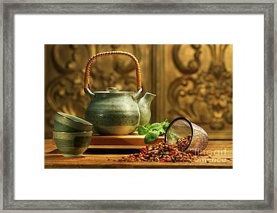 Asian Herb Tea Framed Print by Sandra Cunningham