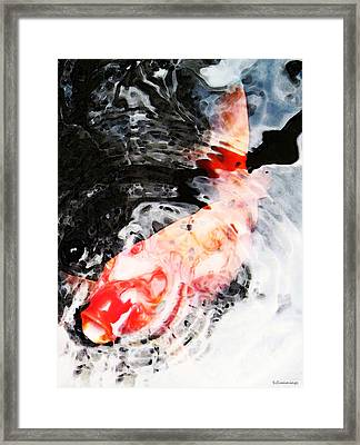 Asian Koi Fish - Black White And Red Framed Print by Sharon Cummings