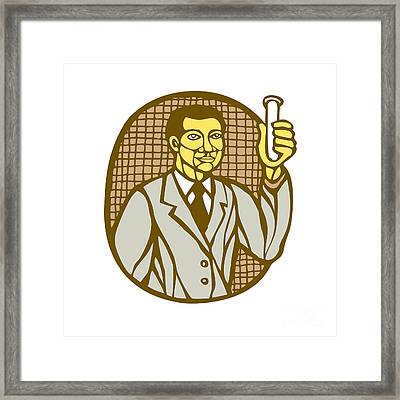 Asian Scientist Test Tube Woodcut Linocut Framed Print by Aloysius Patrimonio