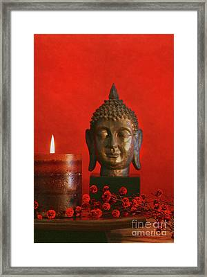 Asian Theme With Candle  Framed Print by Sandra Cunningham