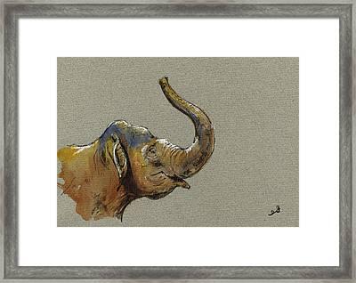 Asiatic Elephant Head Framed Print by Juan  Bosco