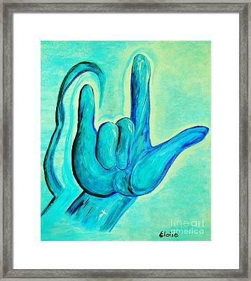 Asl I Love You Blue Framed Print by Eloise Schneider