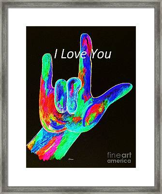 Asl I Love You On Black Framed Print by Eloise Schneider