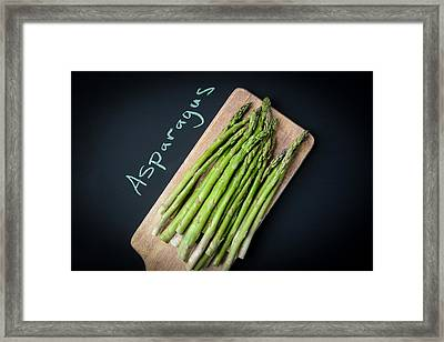 Asparagus Written On A Chalkboard Framed Print by Brandon Bourdages