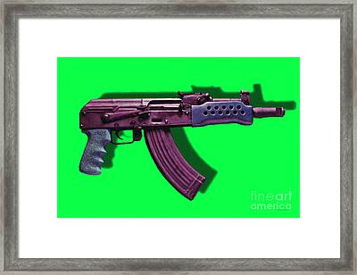 Assault Rifle Pop Art - 20130120 - V3 Framed Print by Wingsdomain Art and Photography
