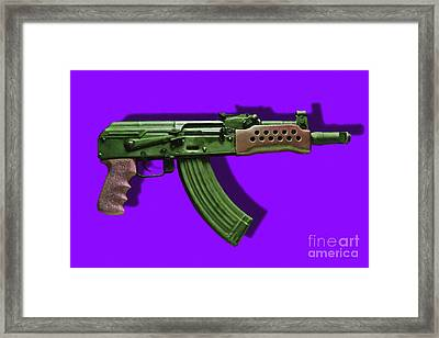 Assault Rifle Pop Art - 20130120 - V4 Framed Print by Wingsdomain Art and Photography