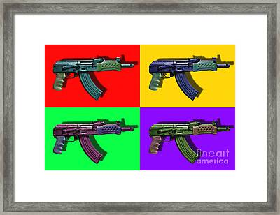 Assault Rifle Pop Art Four - 20130120 Framed Print by Wingsdomain Art and Photography