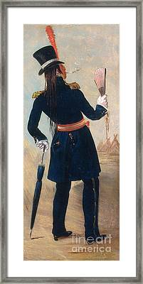 Assiniboine Warrior In Regimental Framed Print by Photo Researchers