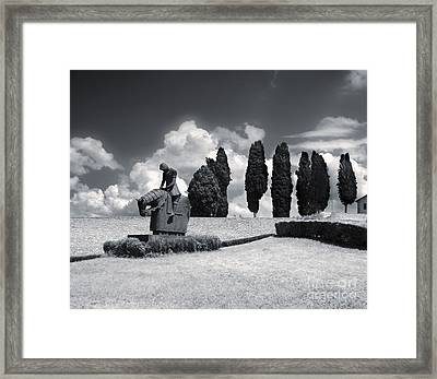 Assisi Italy - Basilica Of San Francesco D'assisi Statue Framed Print by Gregory Dyer