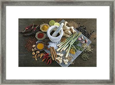 Assorted Spices Framed Print by Science Photo Library