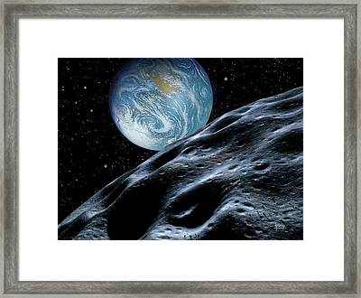 Asteroid Approaching Earth Framed Print by David A. Hardy