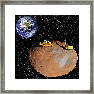 Asteroid Mining, Artwork Framed Print by Science Photo Library