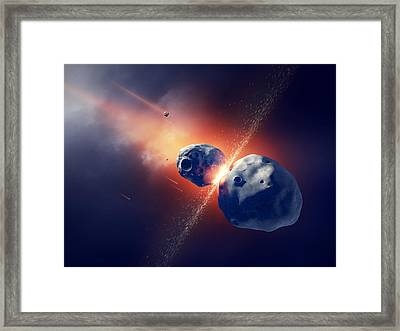 Asteroids Collide And Explode  In Space Framed Print by Johan Swanepoel