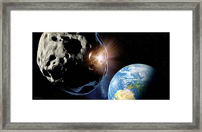 Asteroids Colliding Near Earth Framed Print by Detlev Van Ravenswaay