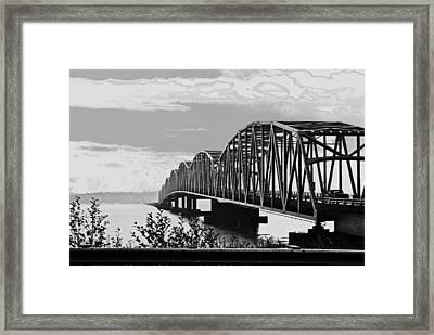Astoria Bridge Wa. Side Framed Print by Rae Berge