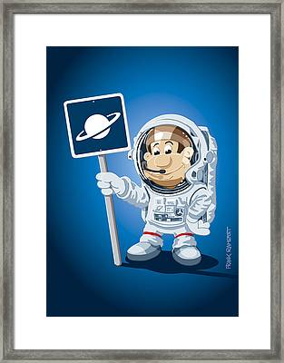 Astronaut Cartoon Man Framed Print by Frank Ramspott