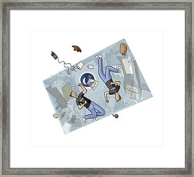 Astronauts Fighting, Artwork Framed Print by Science Photo Library