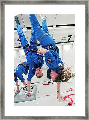 Astronauts Training In Free-fall Framed Print by Esa - A. Le Floc'h