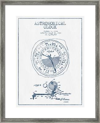 Astronomical Clock Patent From 1930  - Blue Ink Framed Print by Aged Pixel