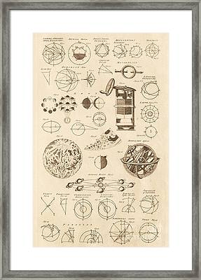 Astronomy Diagrams And Instruments Framed Print by David Parker