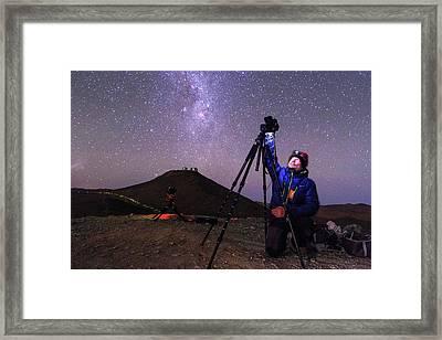 Astrophotographer In The Desert Framed Print by Babak Tafreshi