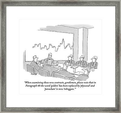 At A Conference Table Framed Print by Jack Ziegler