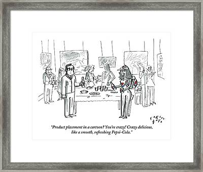 At A Party, A Woman Is Wearing All Pepsi Gear Framed Print by Farley Katz