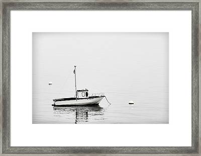 At Anchor Bar Harbor Maine Black And White Framed Print by Carol Leigh