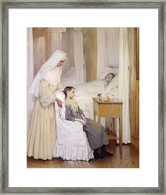 At Notre-dame Du Perpetuel Bon Secours Hospital Framed Print by Henri Jules Jean Geoffroy