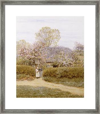 At School Green Isle Of Wight Framed Print by Helen Allingham