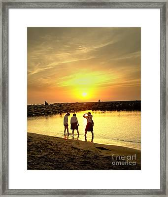 Niigata Beach Sunset Framed Print by C Sakura
