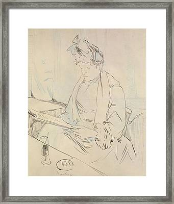 At The Cafe Framed Print by Henri de Toulouse-Lautrec